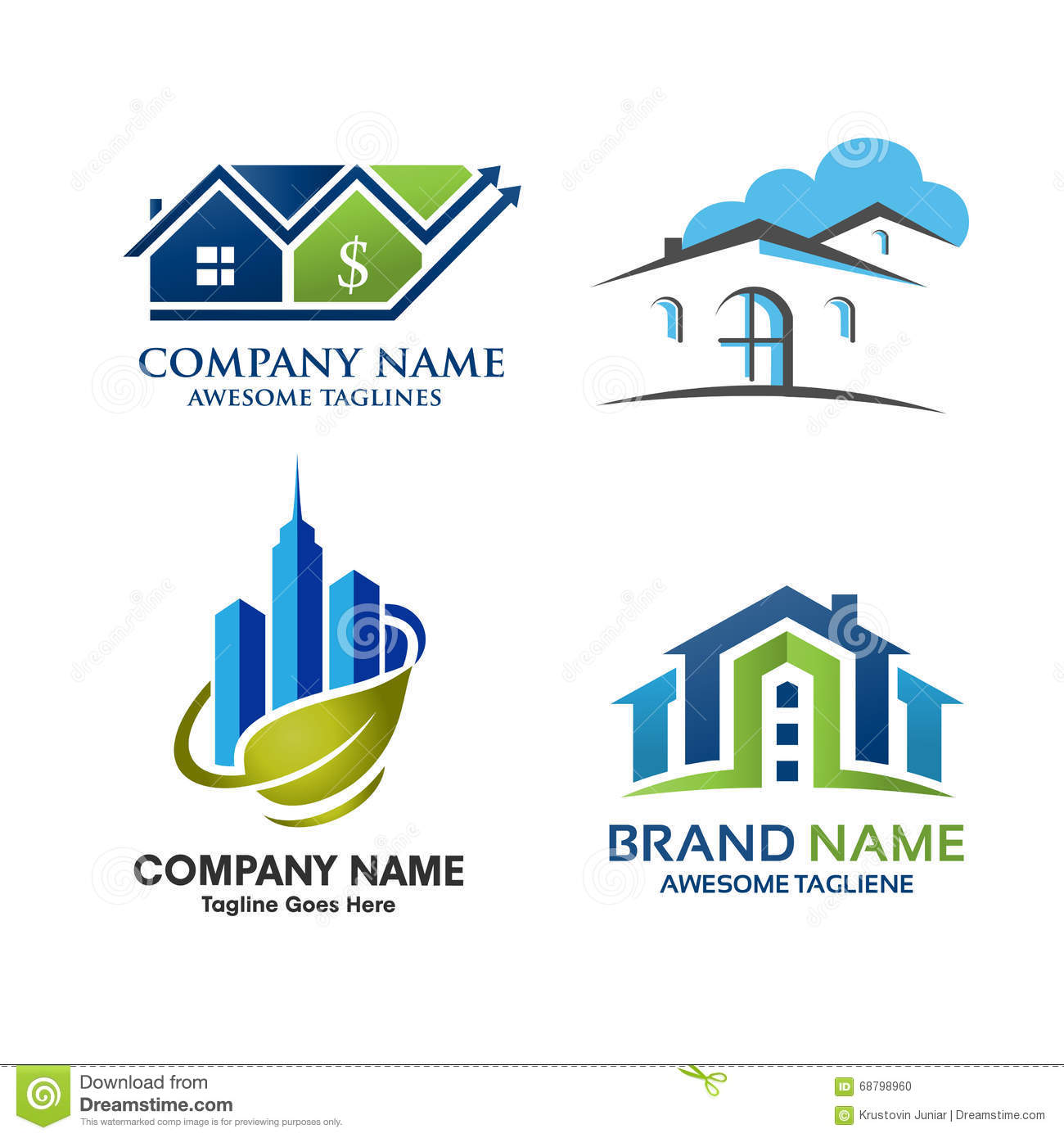 Real estate property logo design stock vector image for Household design company