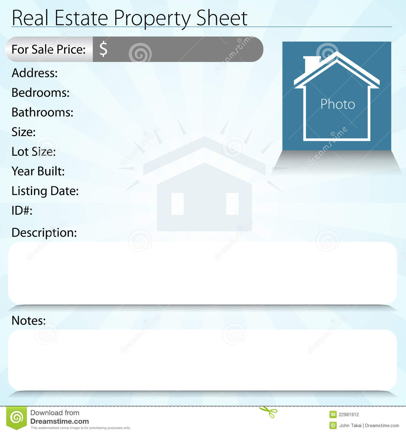 Real estate property sheet stock photography image 22981912 for Real estate listing sheet template