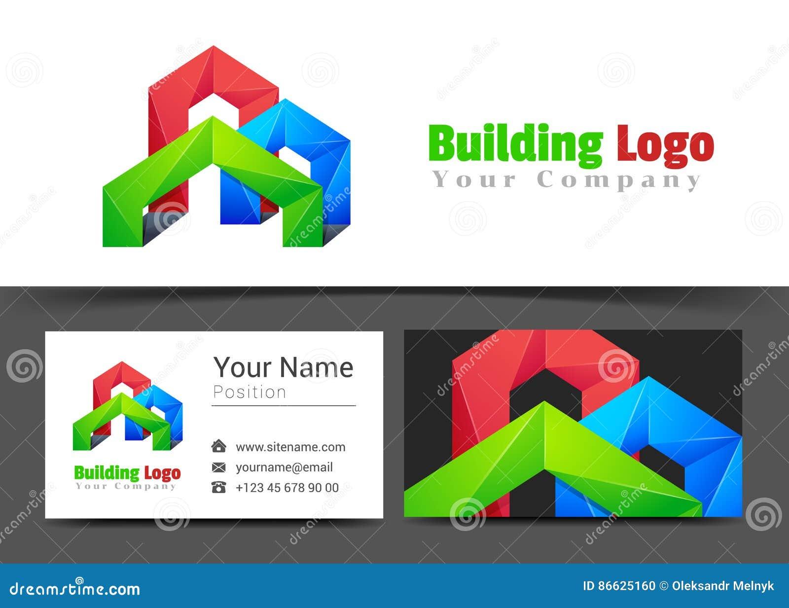 Real Estate que constrói o sinal incorporado do logotipo e do cartão
