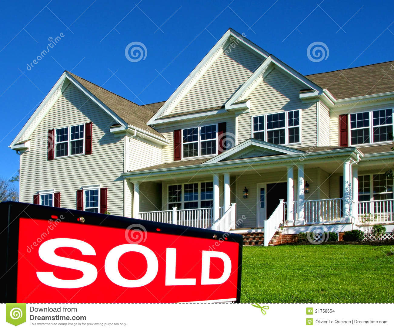 Real Estate Realtor Sold Sign And House For Sale Stock