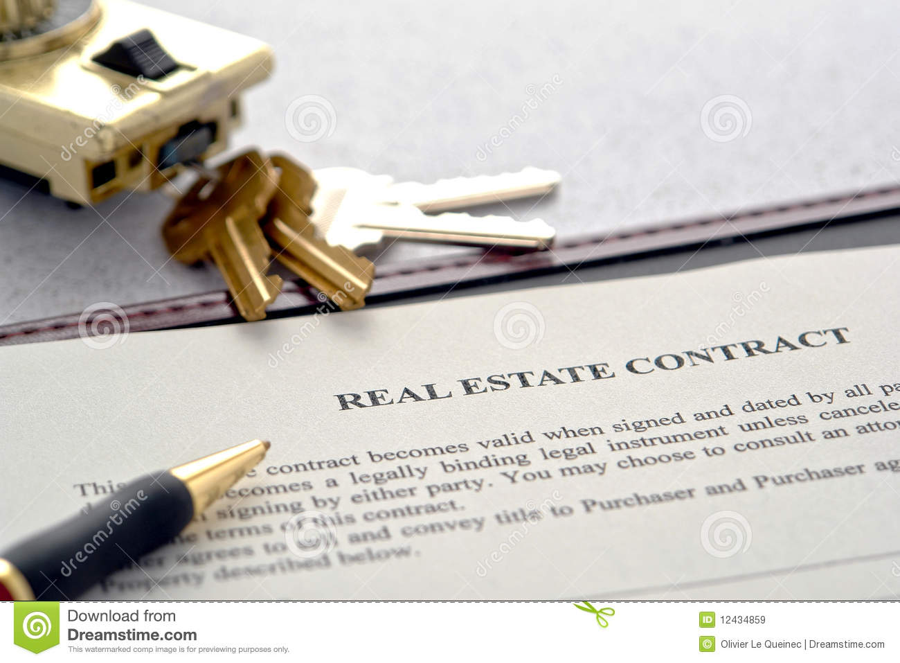 Real Estate Sale Contract And Lock Box With Keys Royalty