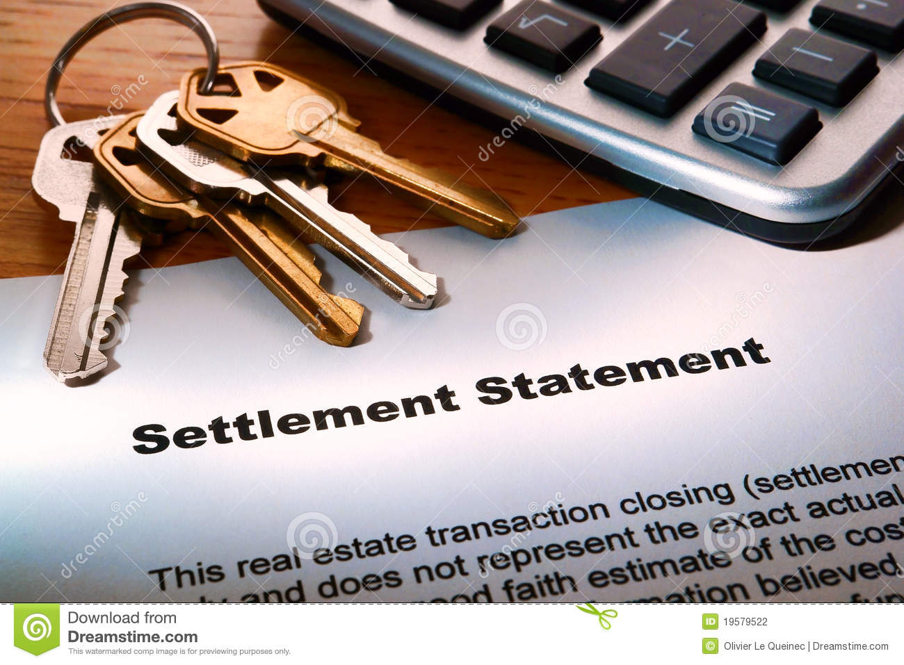 Real Estate Seller Settlement Statement and Keys