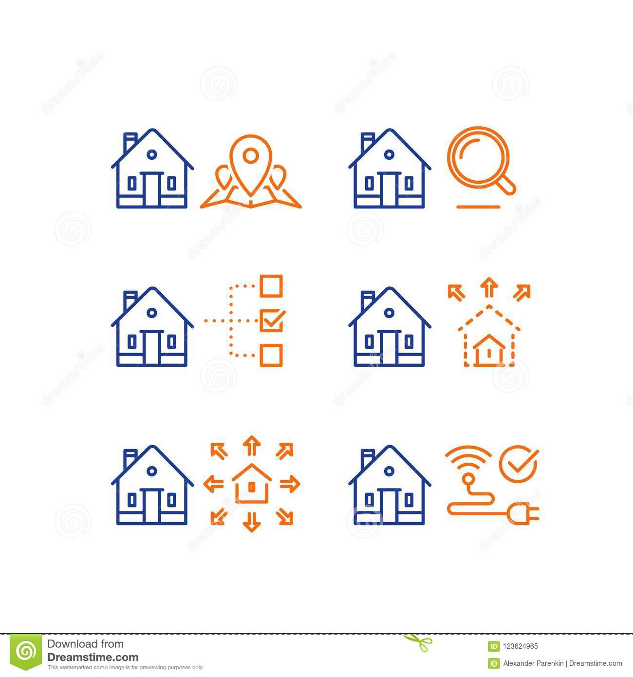 ... Location Mark Map, Search Criteria Magnifying Glass, Residential  Building Size Parameter, Remodel, Smart Home Control, Wireless Internet  Connection, ...