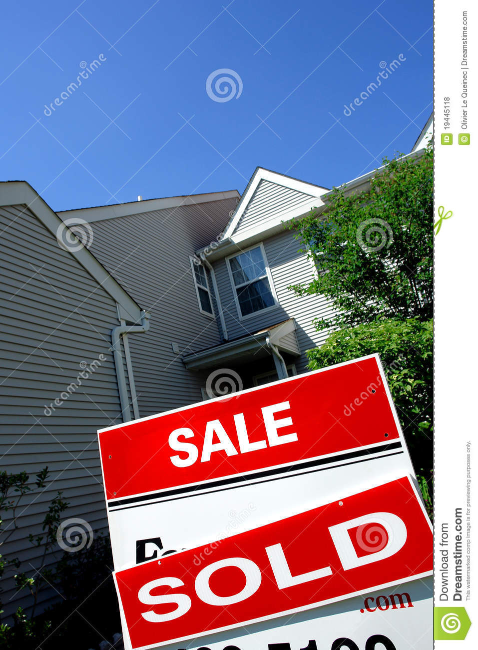 Real Estate Sold Rider On Sale Sign And Deal House Royalty ...