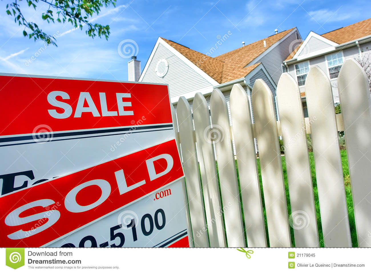 For Sale Sold Sign: Real Estate Sold Rider On For Sale Sign Near House Royalty