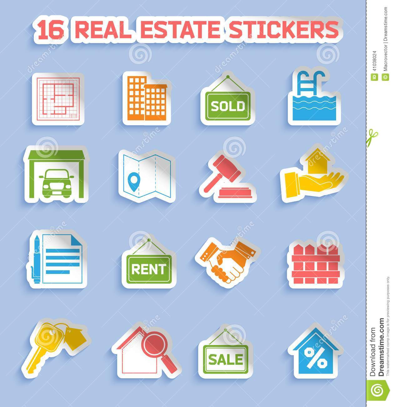 Real estate stickers stock vector  Illustration of pool