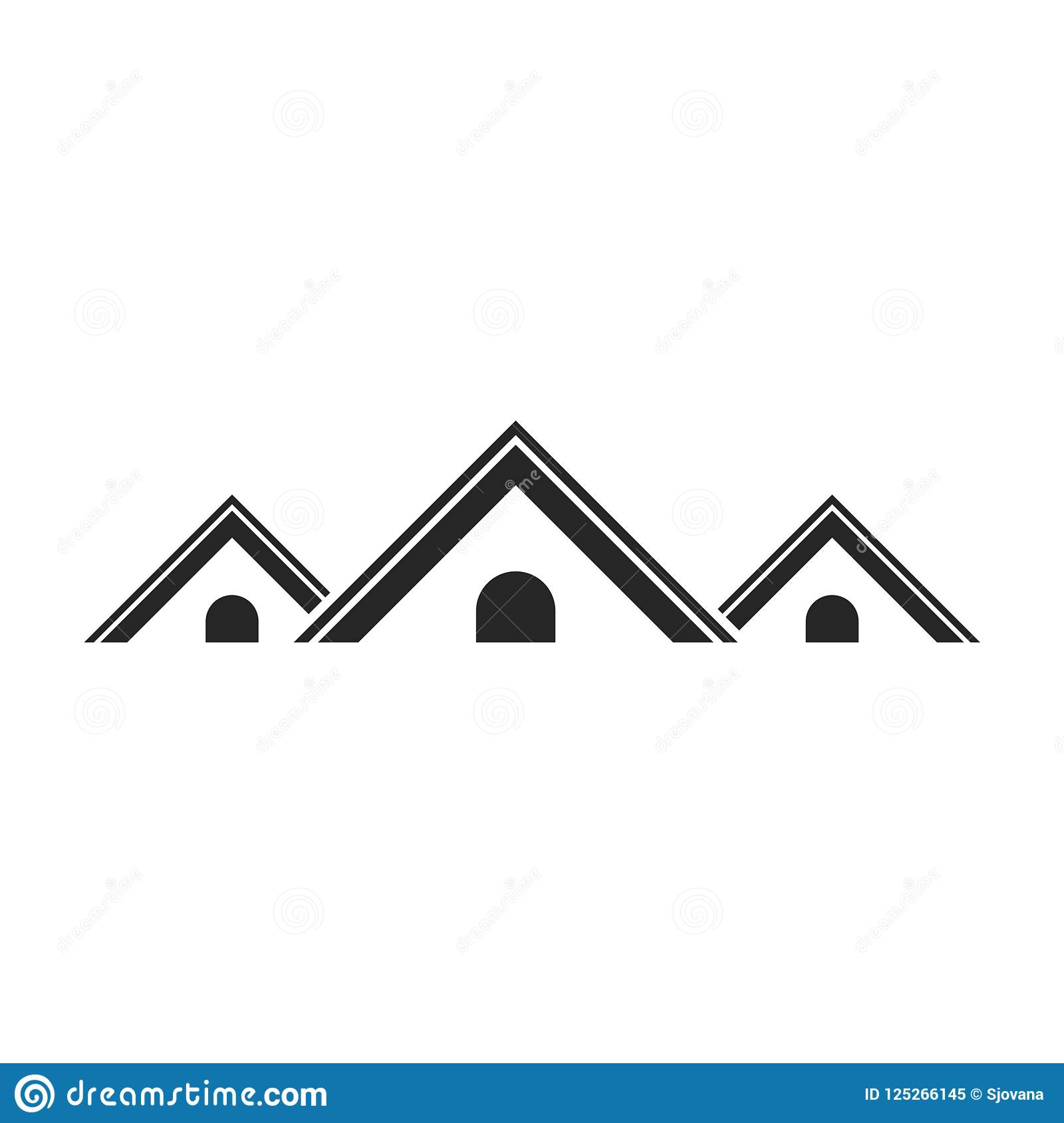 Real Estate Symbol Roof Icon Roof Logo Simple Vector Icon Stock