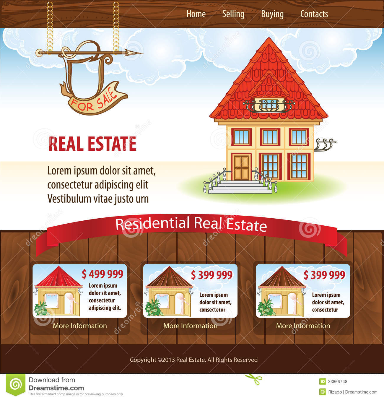 real estate template stock vector illustration of layout 33866748