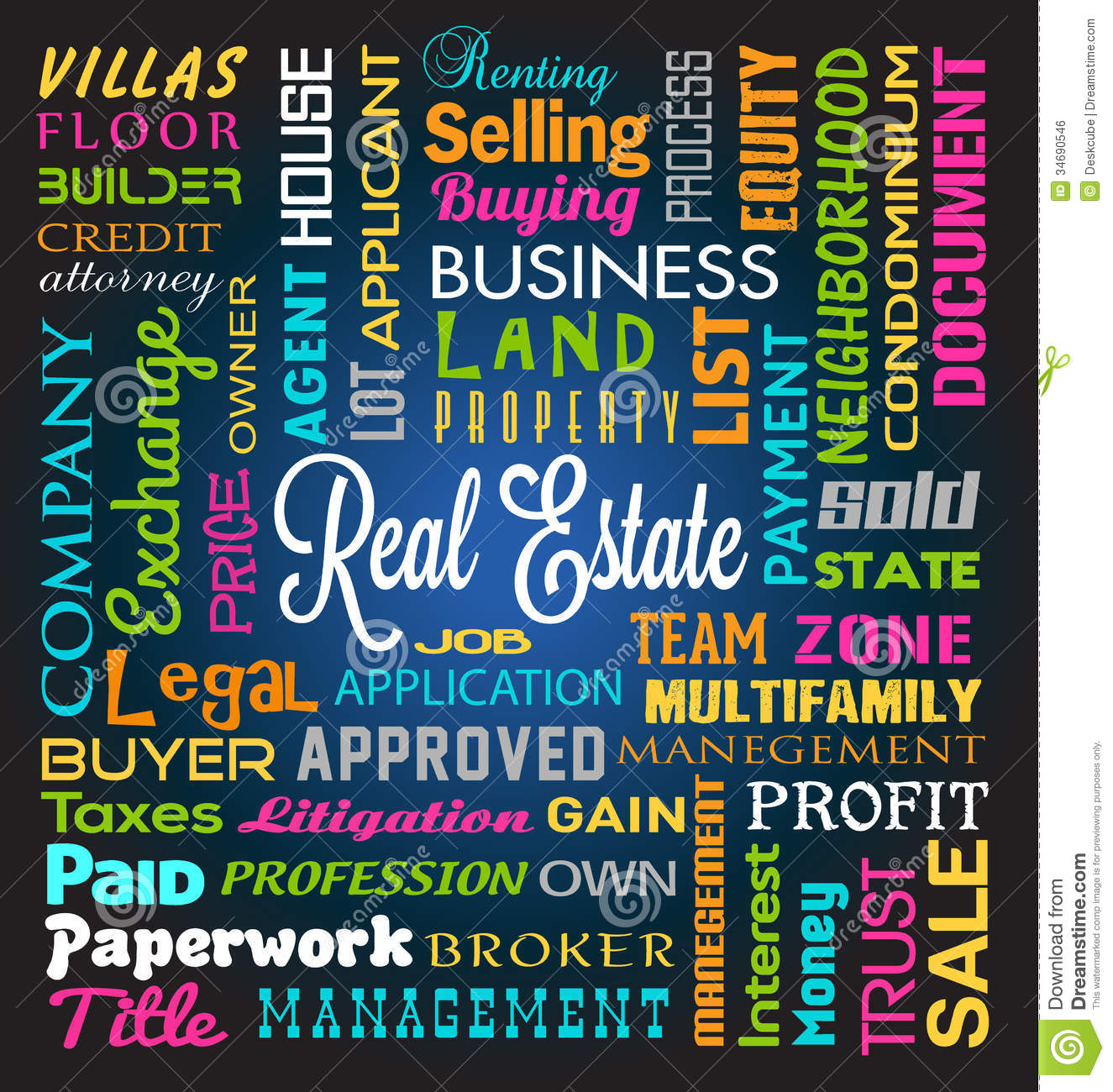 Real Estate Word Theme Background.