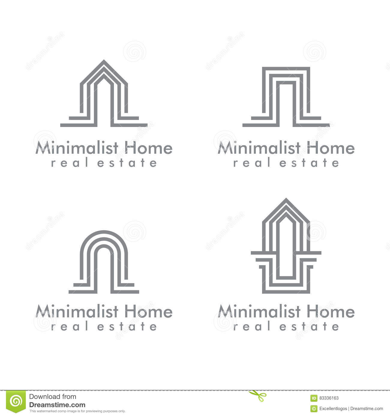 Real estate vector logo design minimalist home logo stock for Minimalist house logo