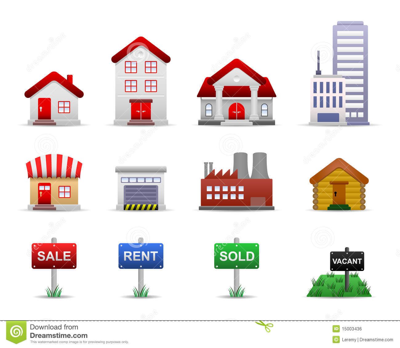Real Estates Property Icons Vector Stock