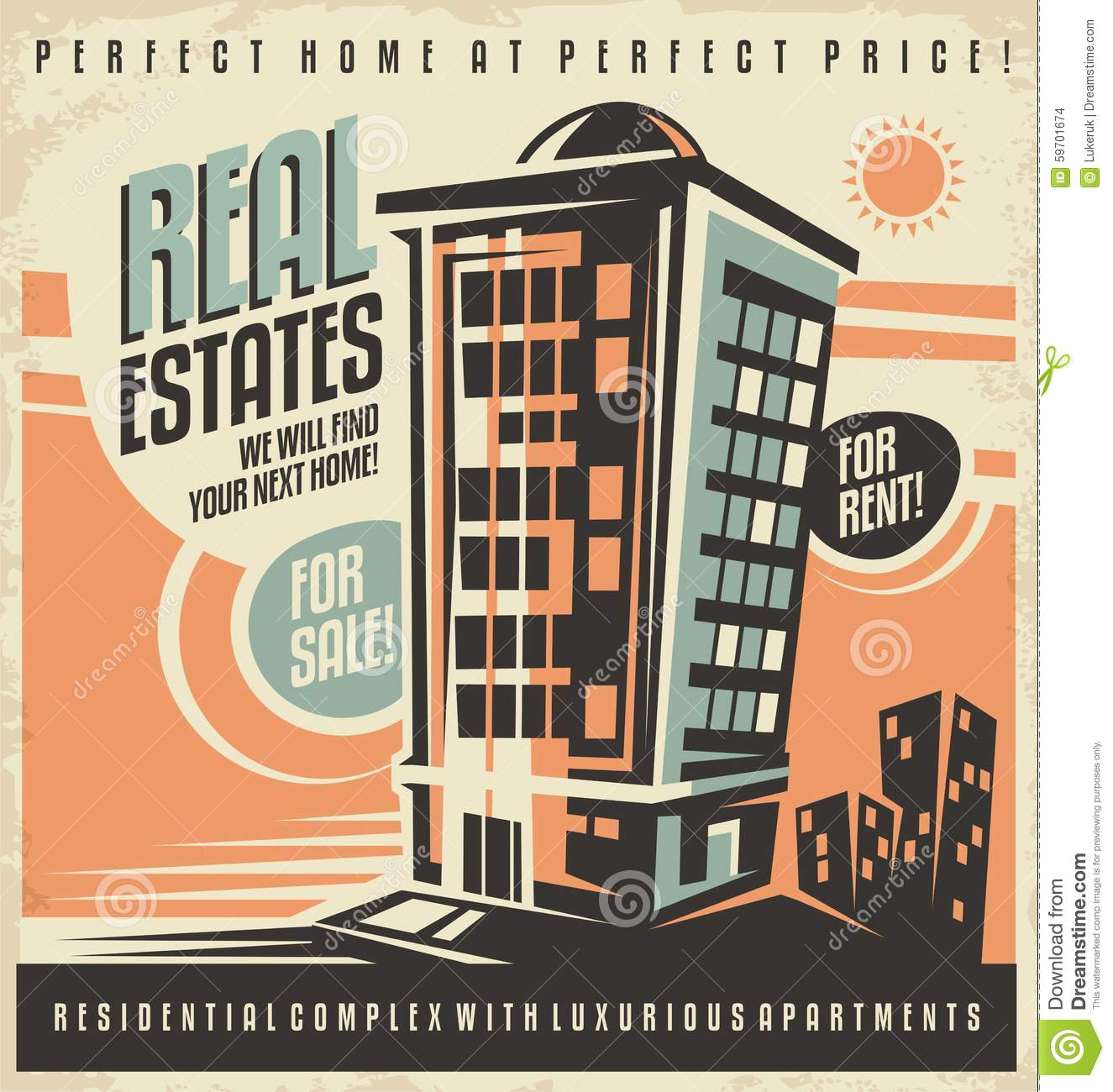 Ads For Apartments For Rent: Real Estates Vintage Ad Design Concept Stock Vector