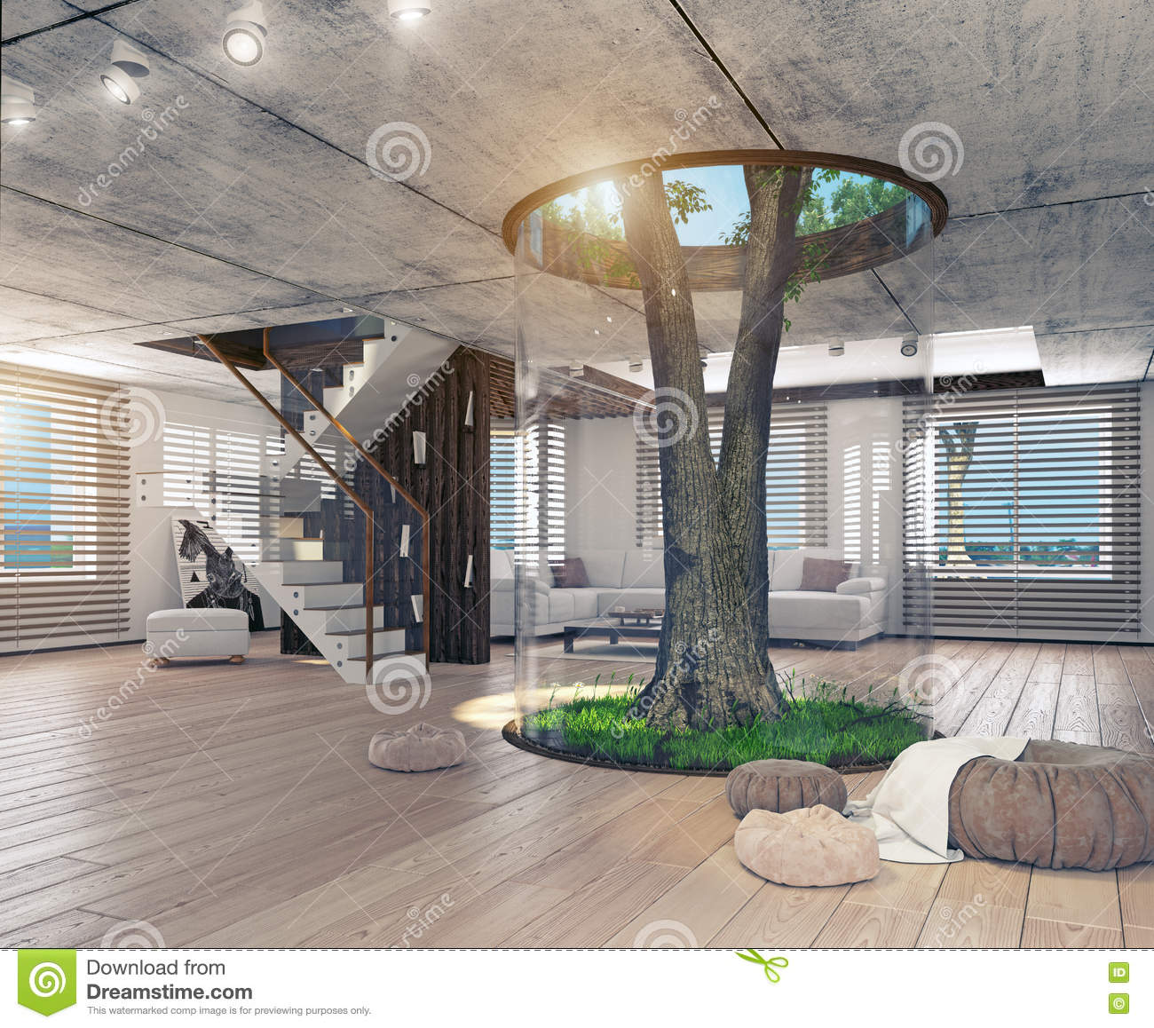 Real Indoor Trees Part - 33: Real Living Tree Indoor Concept Royalty Free Stock Photography