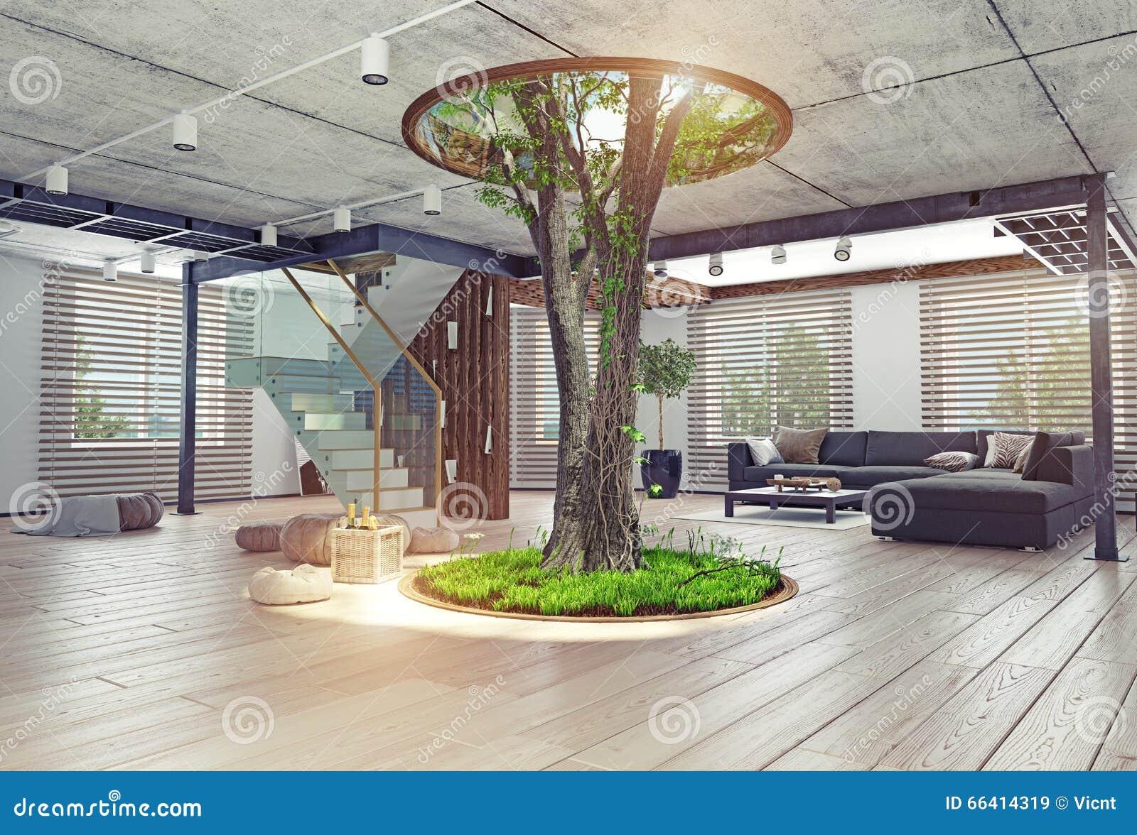 real living tree indoor concept stock illustration illustration of comfortable modern 66414319. Black Bedroom Furniture Sets. Home Design Ideas