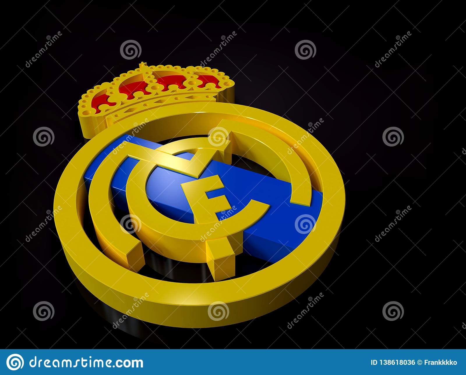 Real Madrid Football Club Logo 3D Perspective Editorial