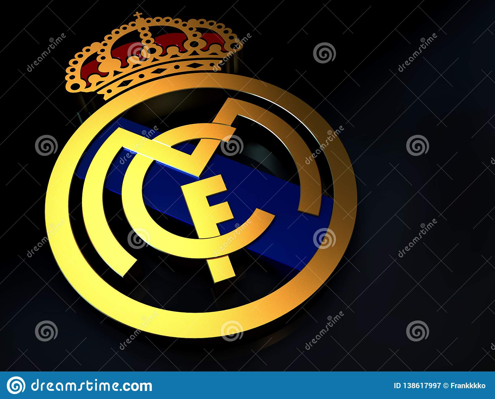 Real Madrid Football Team Logo Made Of Gold Editorial Photography Illustration Of Champions Design 138617997