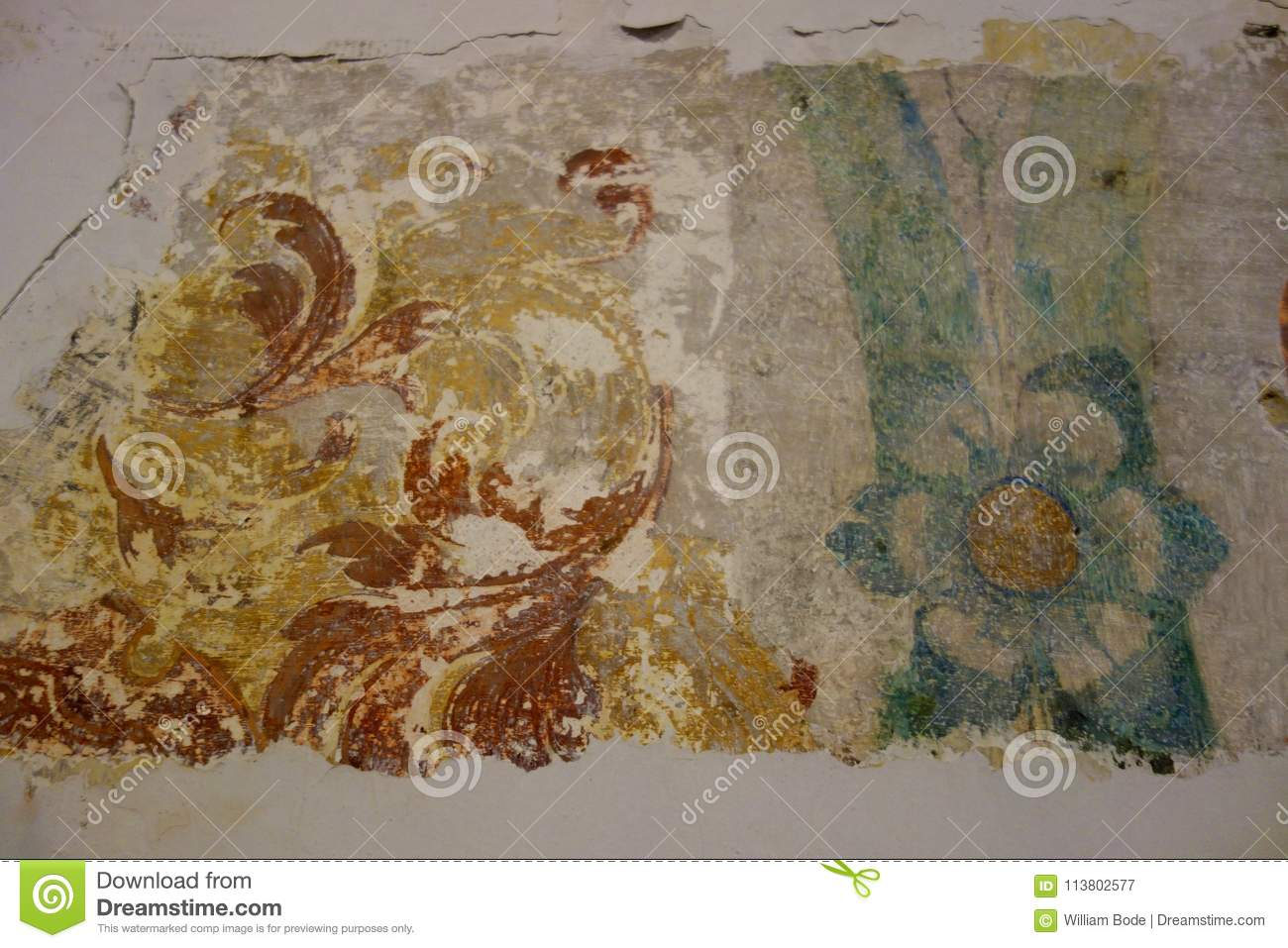 Real Medieval Painting Fresco Remnants Stock Image Image Of Image