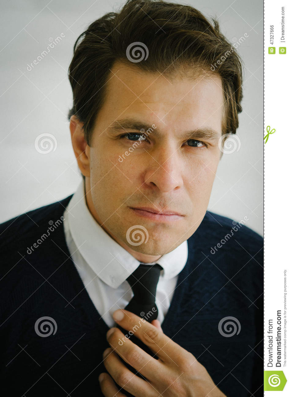 Real Men Stock Photo Image Of Thinking Blue Brownhair 47327666