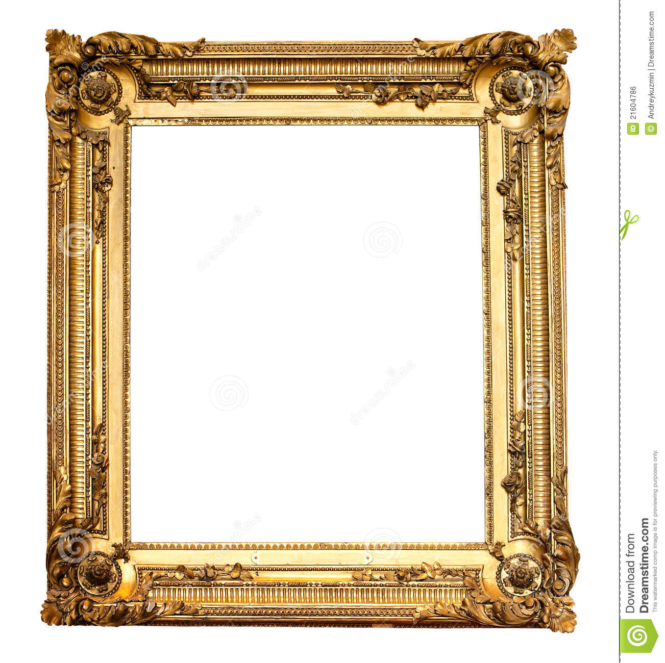 Real Old Antique Gold Frame Isolated Royalty Free Stock