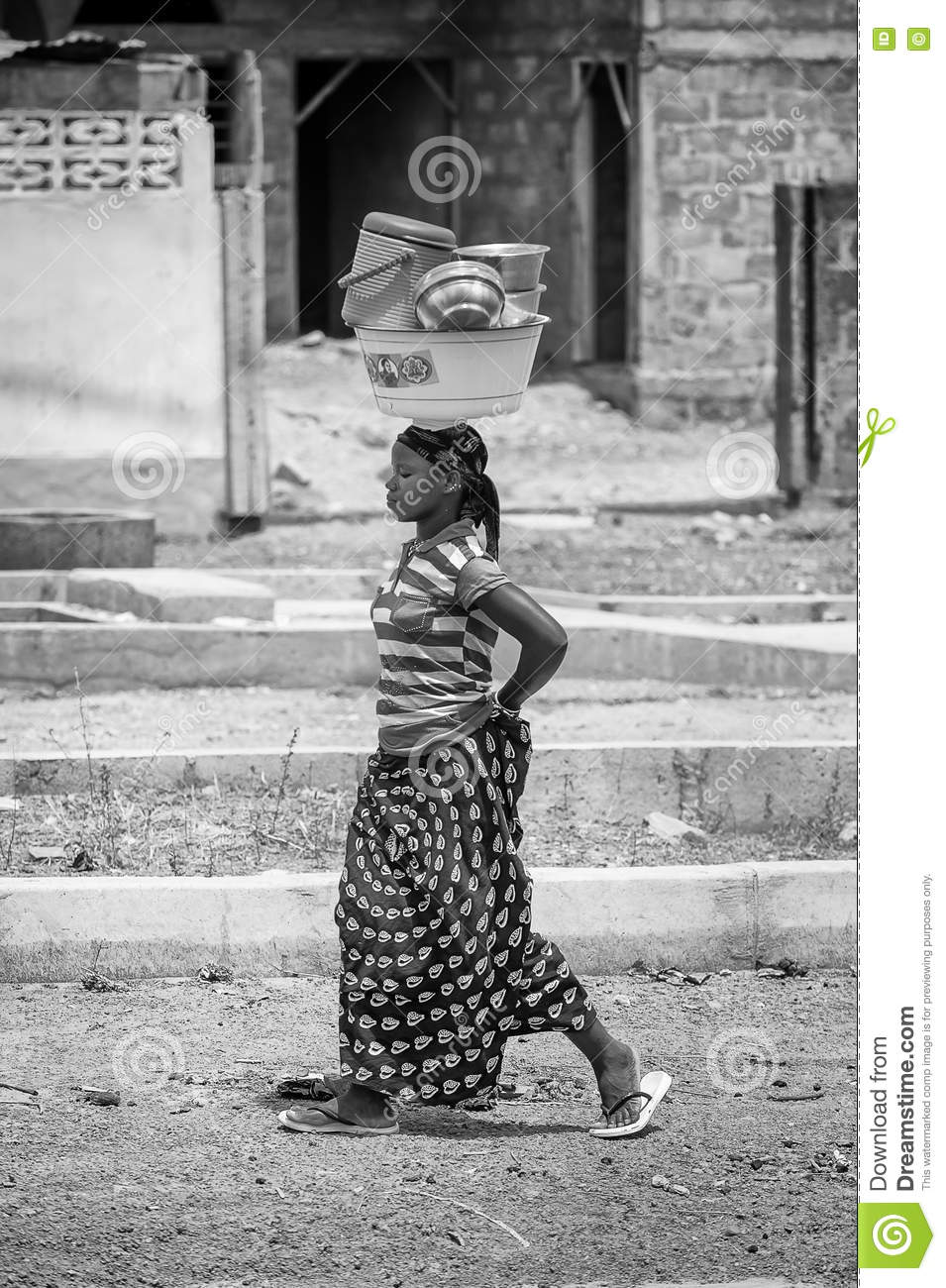 Real People In Togo, In Black And White Editorial Stock