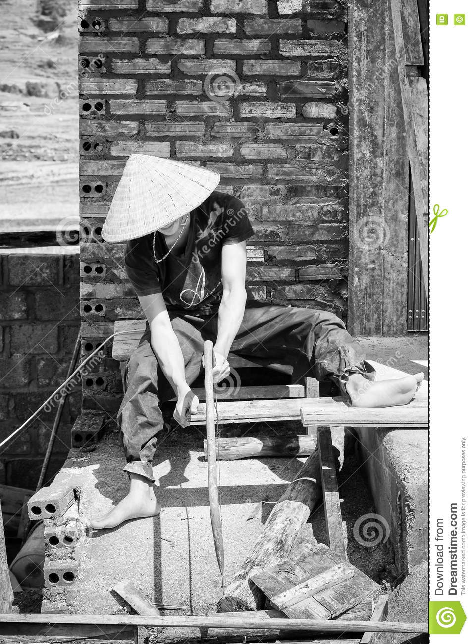 Real People In Vietnam, Black And White Editorial Stock