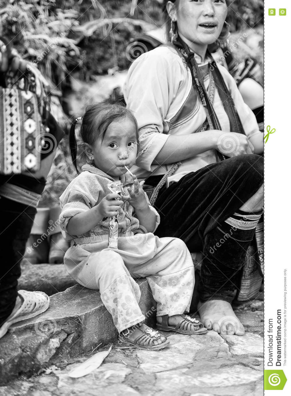 Real People In Vietnam, In Black And White Editorial Image