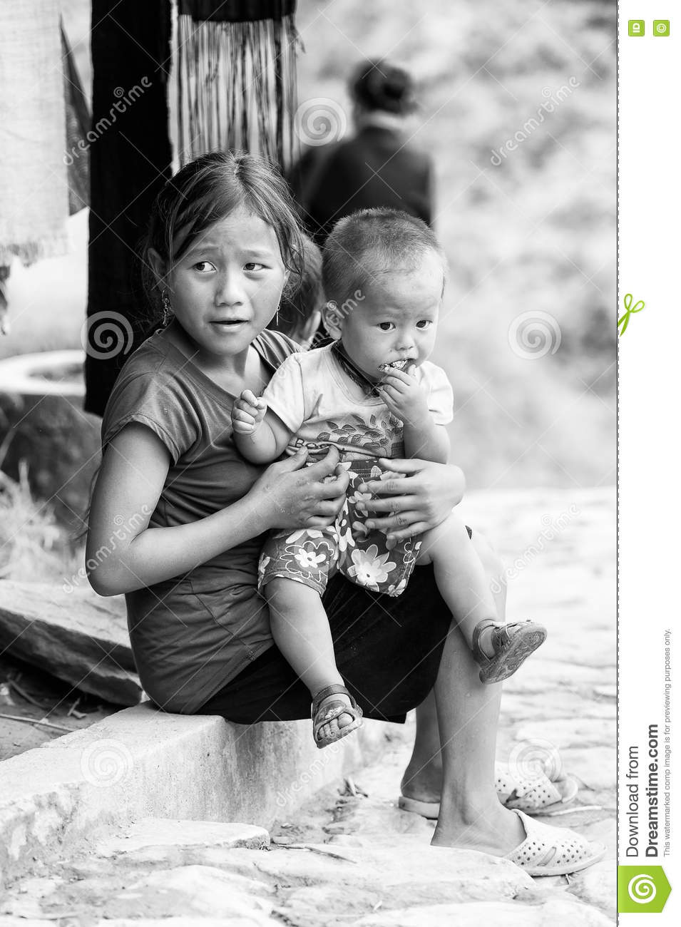 Real People In Vietnam (black And White) Editorial