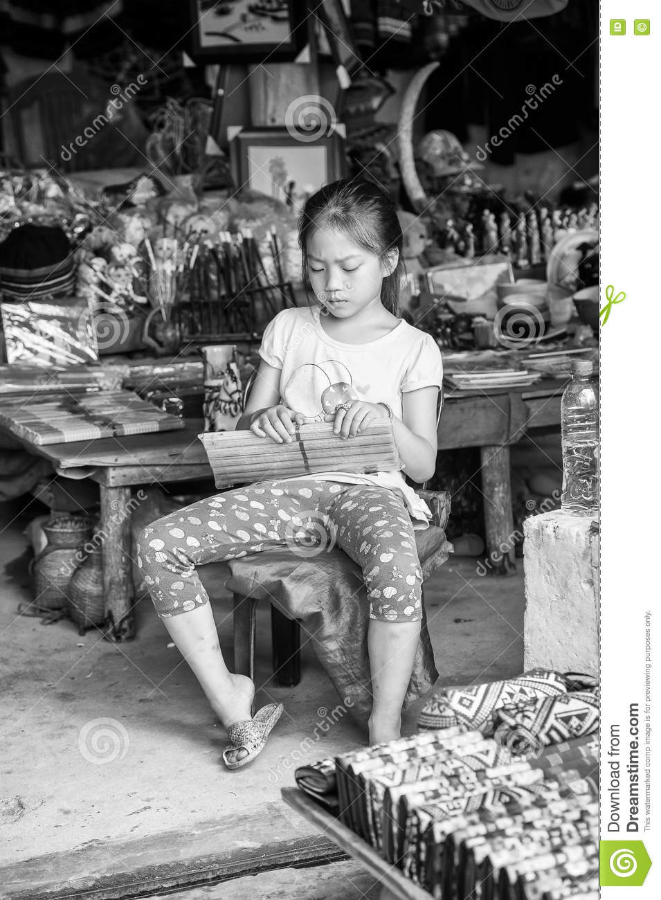 Real People In Vietnam, In Black And White Editorial Photo