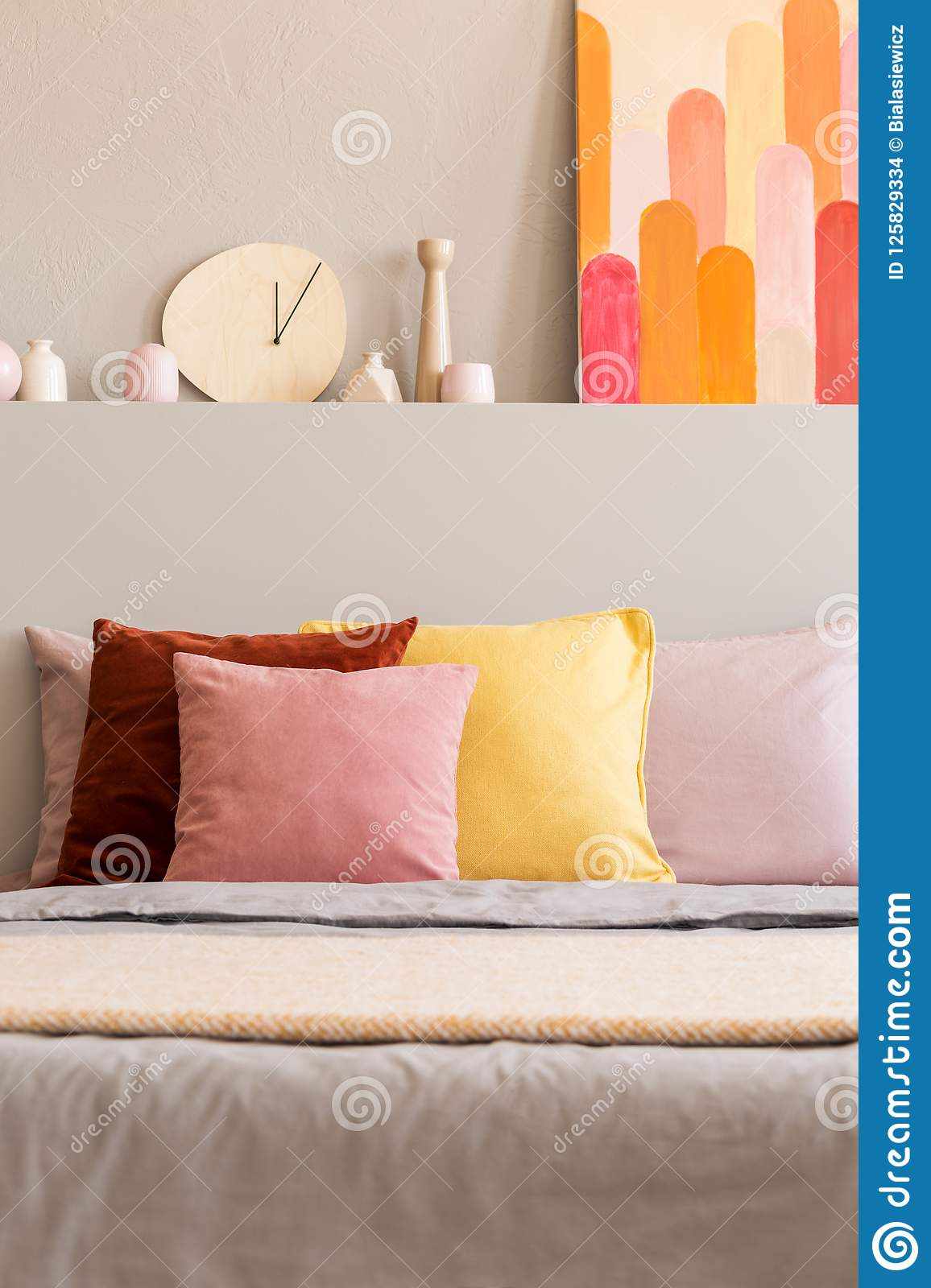 Real Photo Of Bed With Colorful Pillows In Bright Room Interior Stock Photo Image Of Cushions Colorful 125829334