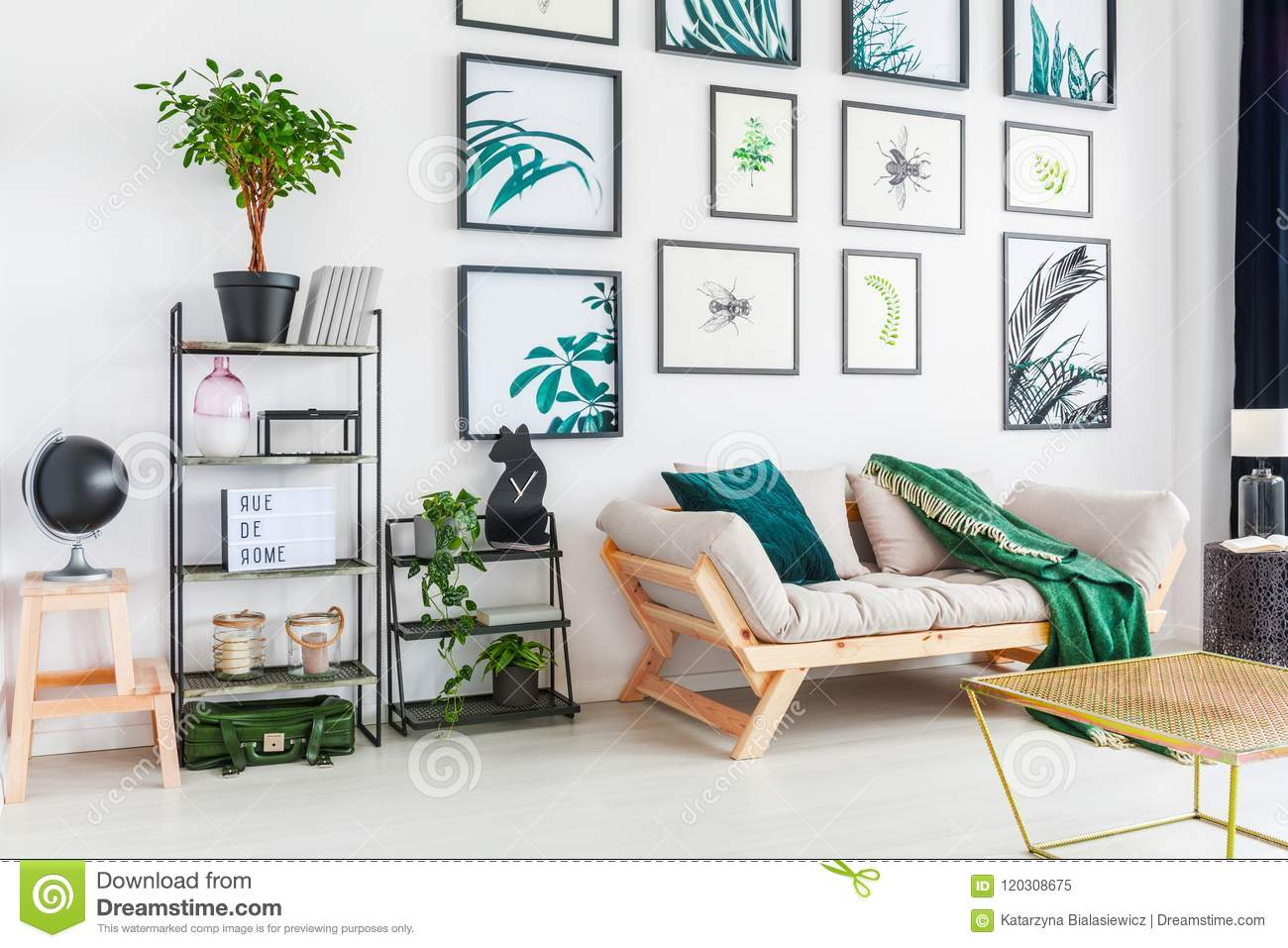 . Real Photo Of A Couch Standing Next To Two Shelves With Ornament