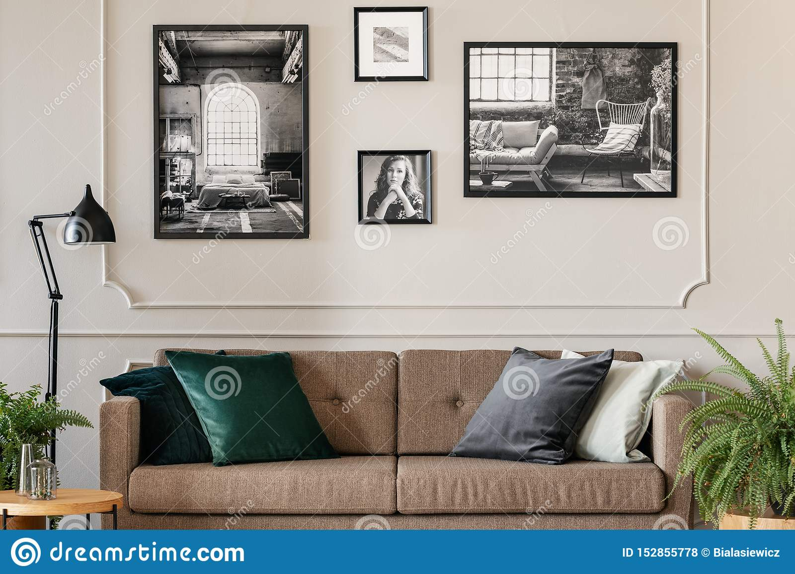 Real photo of a cozy living room interior with cushions on a brown, retro sofa and photos on white wall