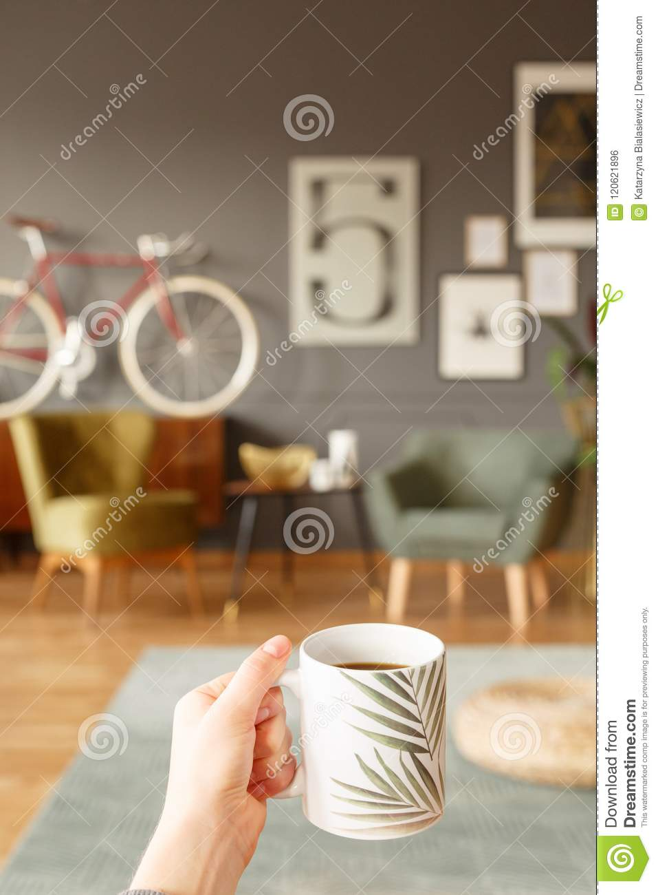 Cup In Hand In Room Stock Photo Image Of Home Background 120621896