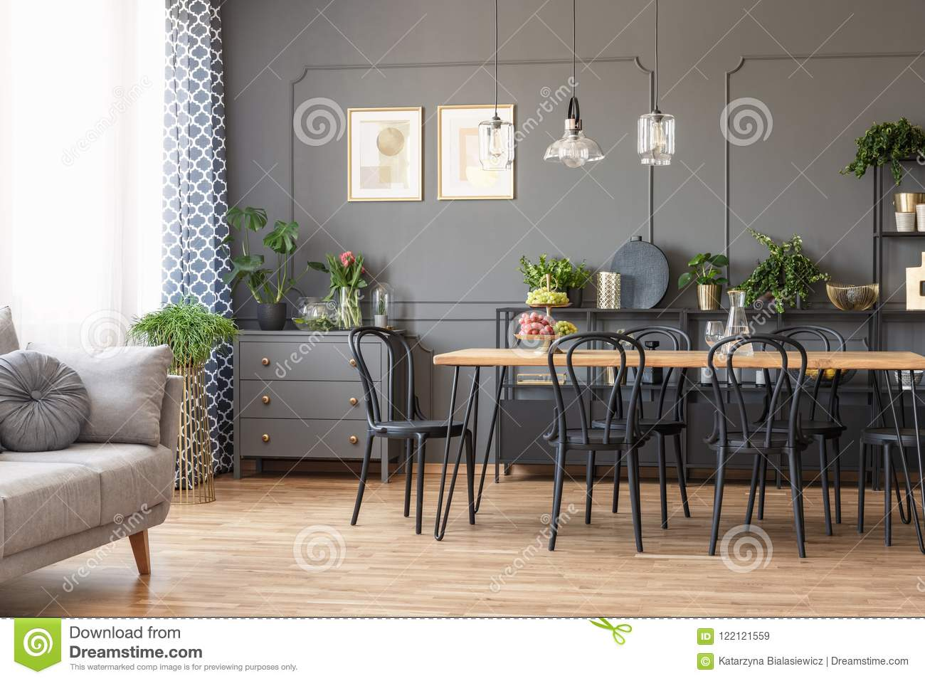 Real Photo Of A Dark Flat Interior With Gray Couch Wooden Dining Table Black Chairs And Golden Posters On The Wall In Open Stock Image Image Of Chairs Glass 122121559