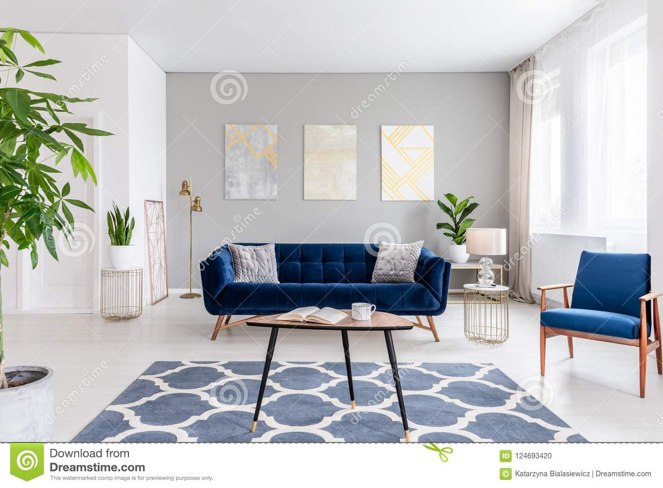 Real Photo Of An Elegant Living Room Interior With A Blue Sofa