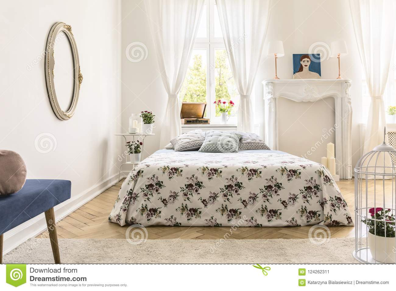 Real Photo Of English Style Bedroom Interior With King-size Bed