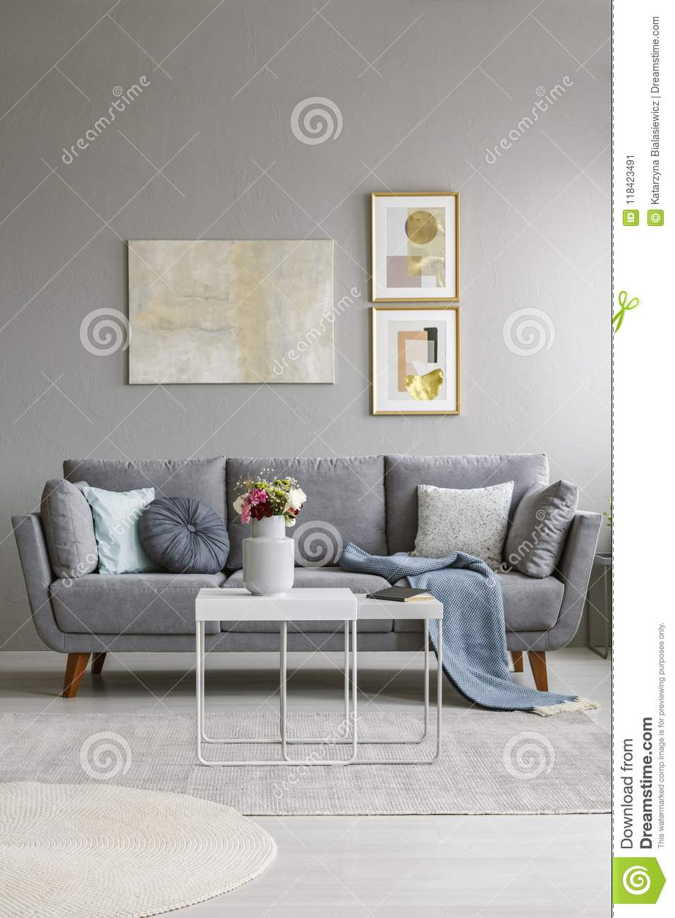 Fabulous Real Photo Of A Grey Couch With Cushions And Blanket Machost Co Dining Chair Design Ideas Machostcouk