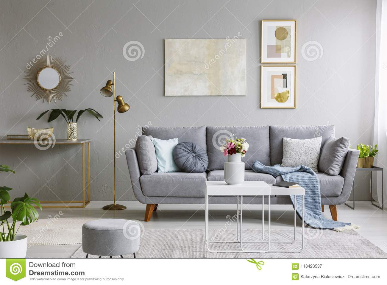 Pleasant Real Photo Of A Grey Sofa With Cushions And Blanket Standing Inzonedesignstudio Interior Chair Design Inzonedesignstudiocom