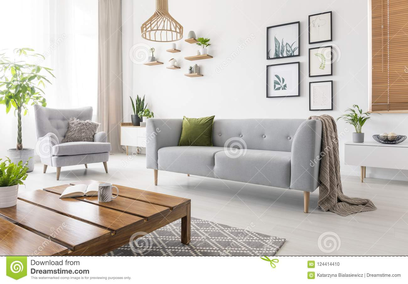 Real Photo Of Grey Sofa With Green Cushion And Blanket Standing In