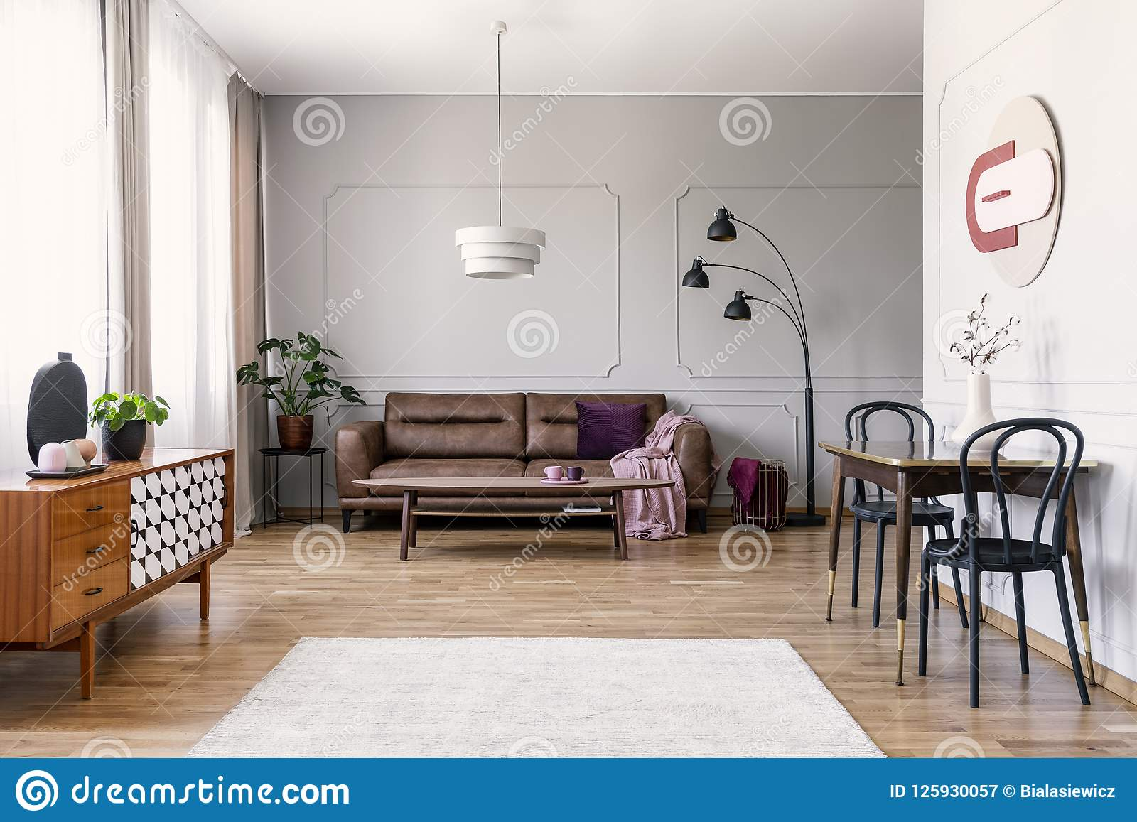 Real Photo Of Light Grey Living Room Interior With Window With