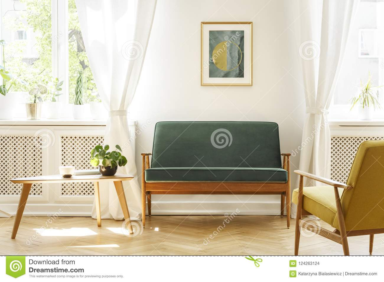 Awesome Real Photo Of A Mid Century Living Room Interior With A Sofa Pdpeps Interior Chair Design Pdpepsorg