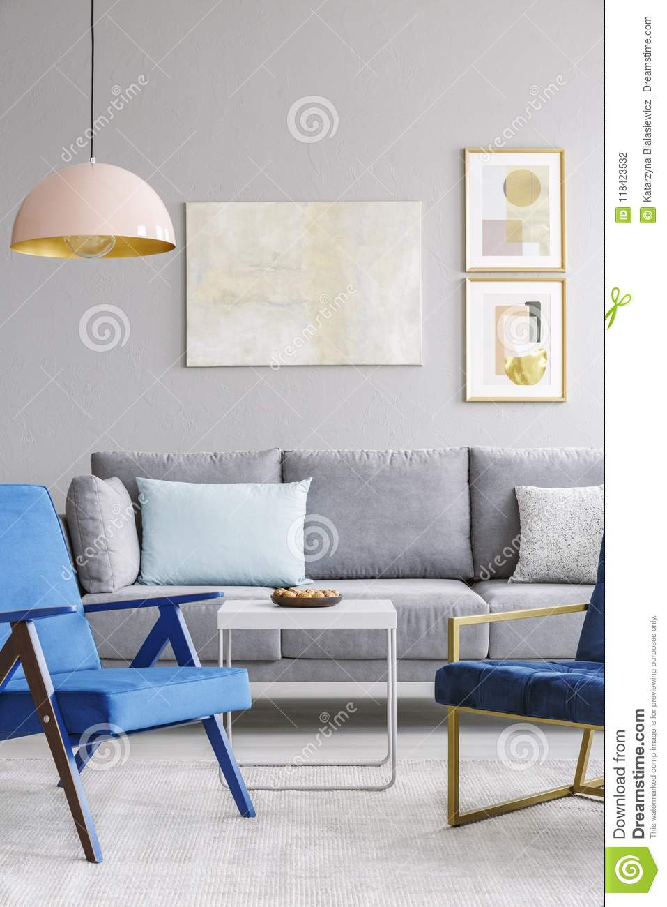 Awesome Real Photo Of Two Blue Chairs Standing In Front Of A Grey Short Links Chair Design For Home Short Linksinfo
