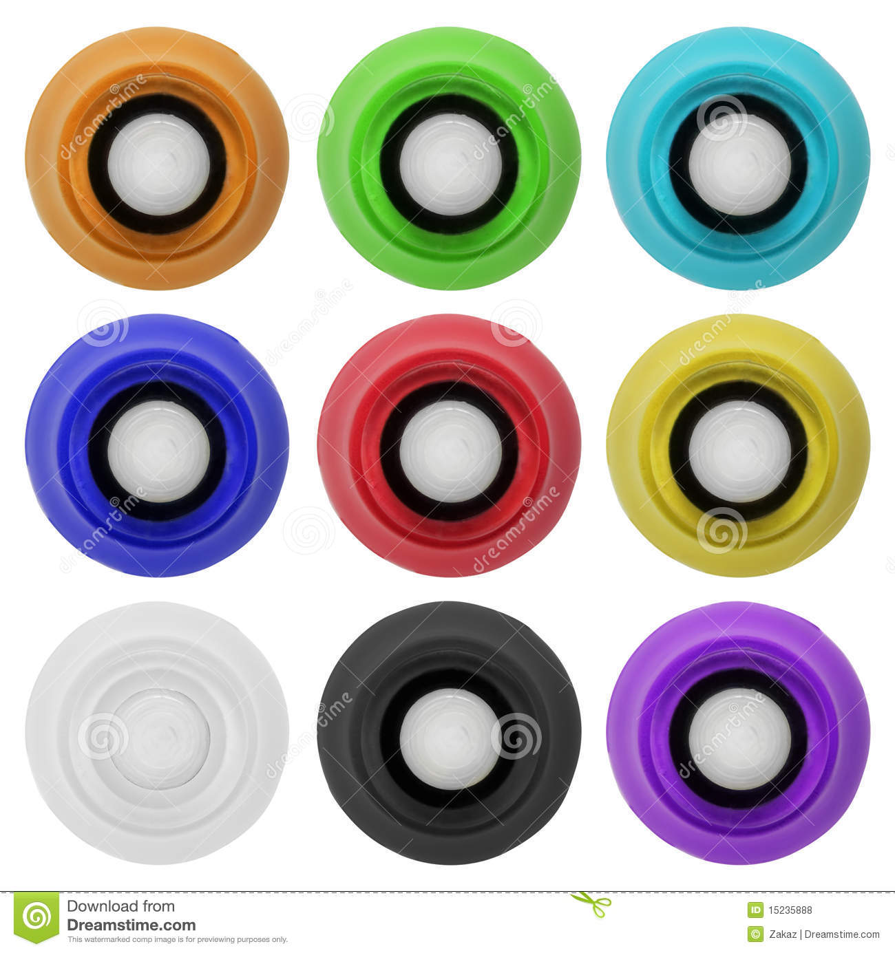 Real rubber button set 4   Isolated