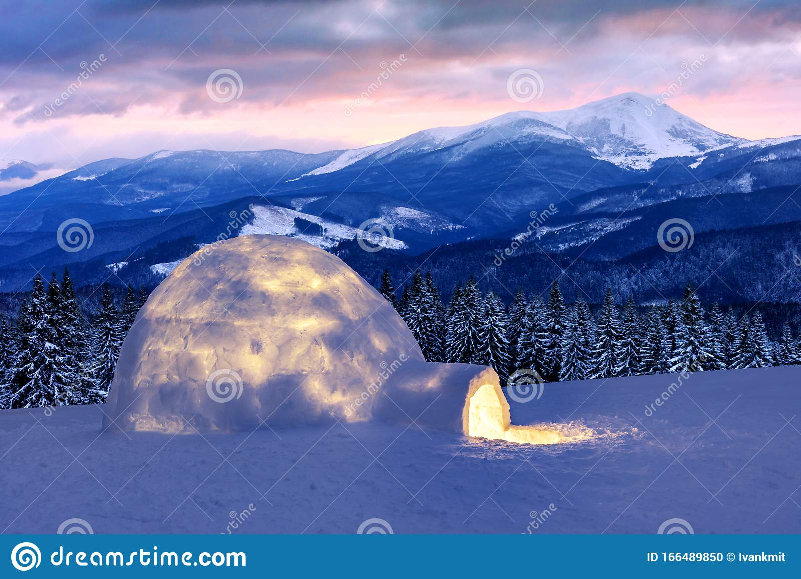 Real Snow Igloo House In The Winter Mountains Stock Photo Image Of Construction Backgrounds 166489850