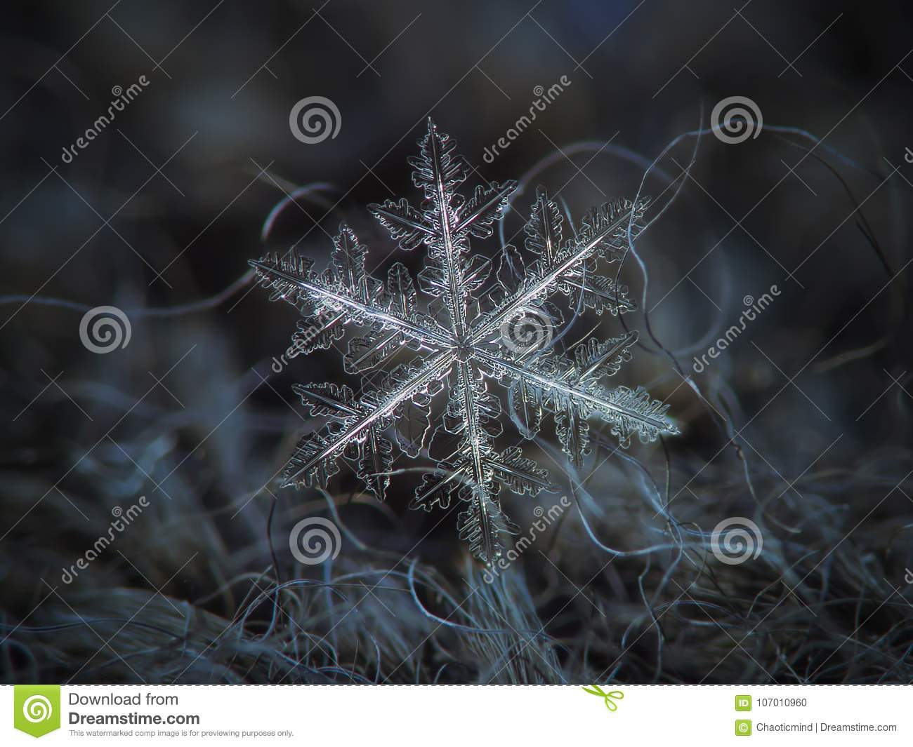 Real snowflake glowing on dark textured background
