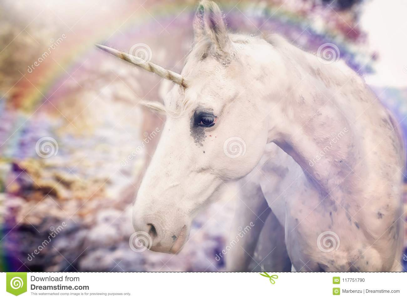 Real unicorn white horned
