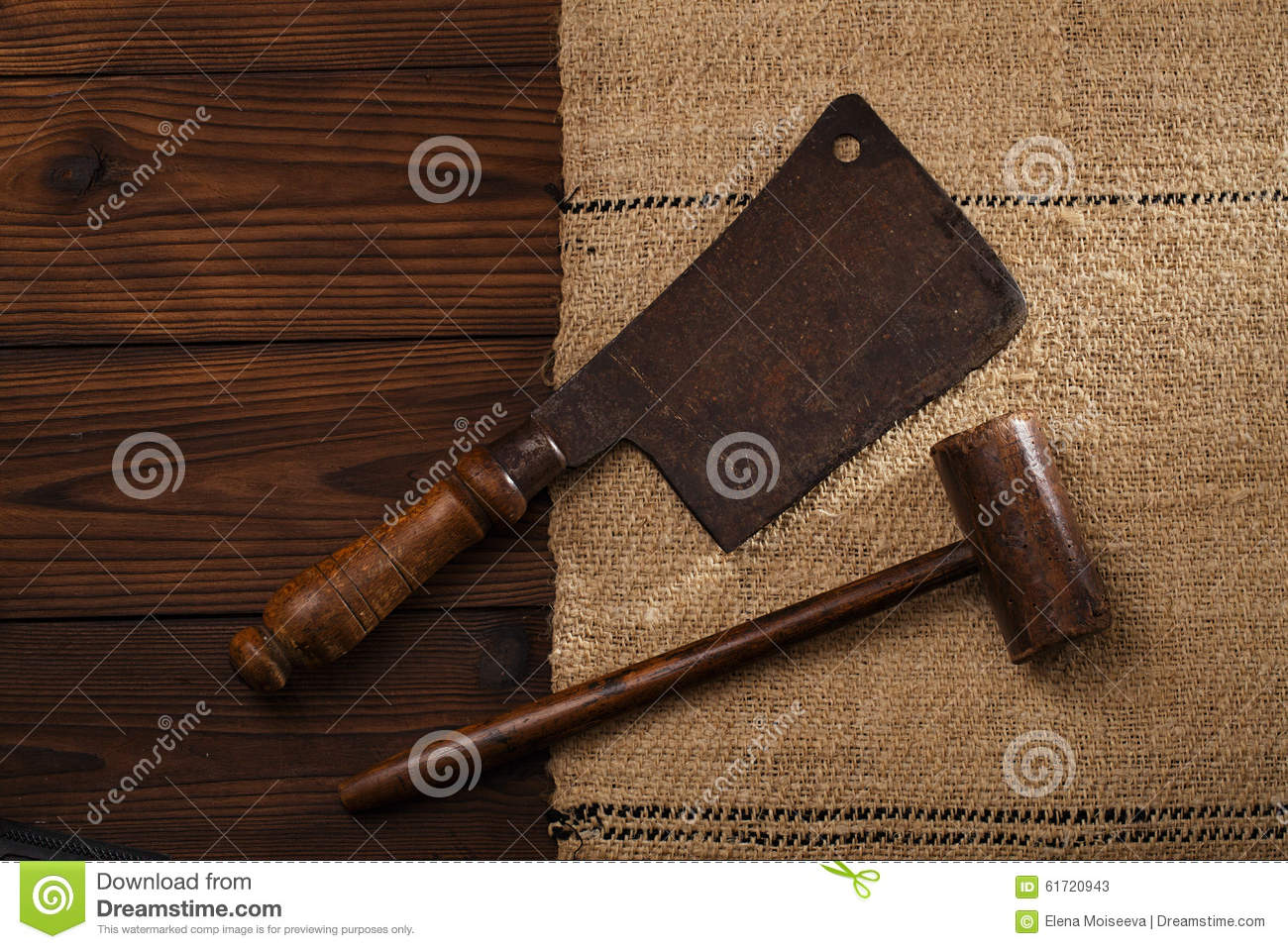 Real Vintage Wooden Mallet And Iron Meat Cleaver Stock Image Image