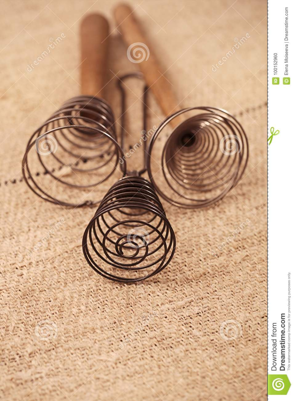 Real Vintage Wooden Wire Whisk Stock Photo - Image of hemp, antique ...