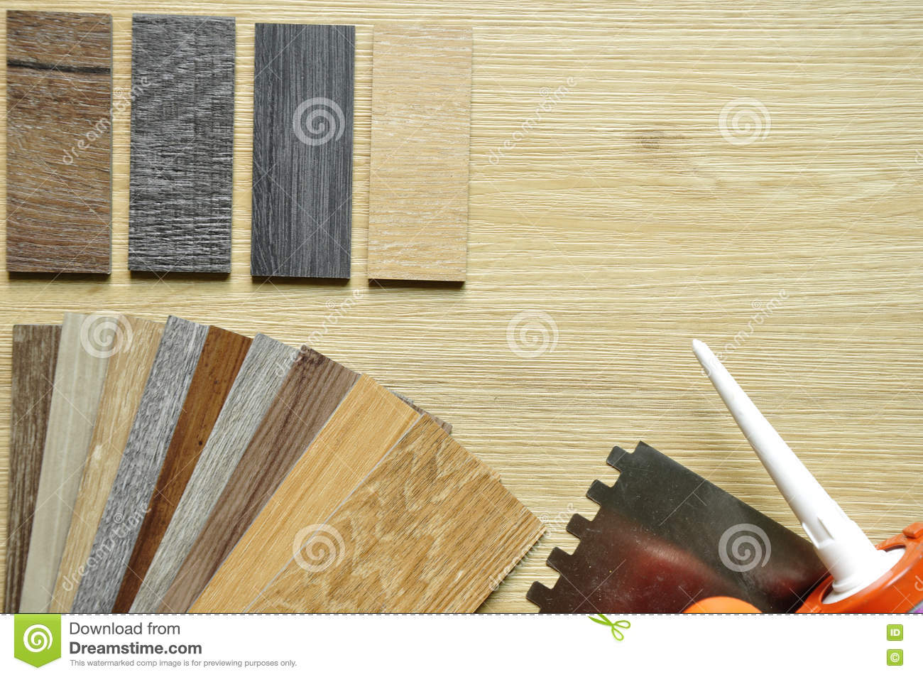 real wood panel and laminated samples on a wooden background