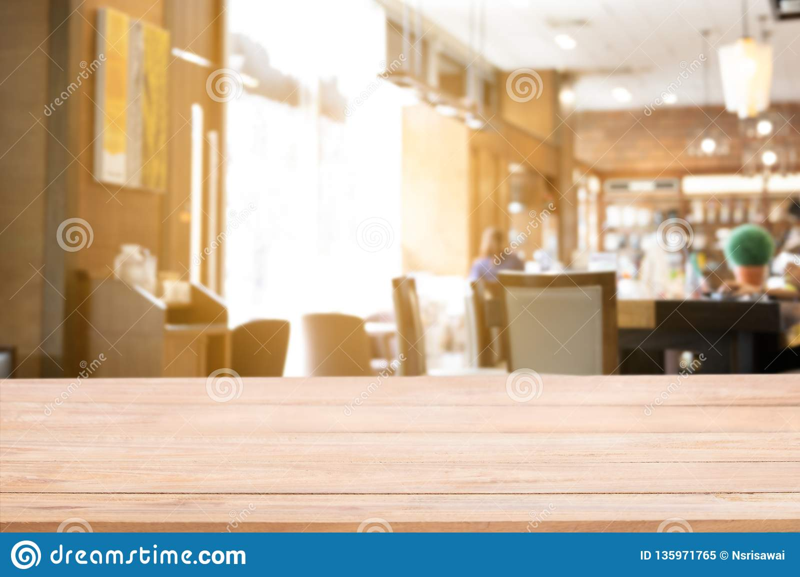 Real Wood Table Top Counter With Defocused Background Of Restaurant Bar Or Cafeteria Background Stock Image Image Of Crowd Customer 135971765