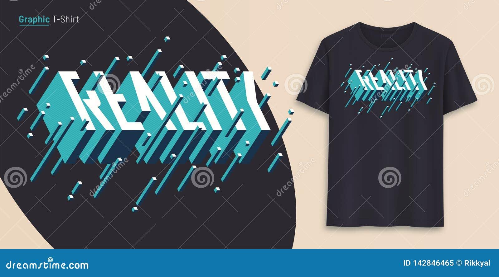 Realidad El diseño gráfico de la camiseta, tipografía, impresión con 3d diseñó el texto